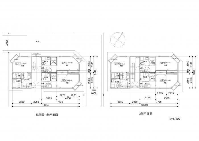 画像原寸大 開放的で居心地の良いアパート(no922、千葉県船橋市O共同住宅)・平面図