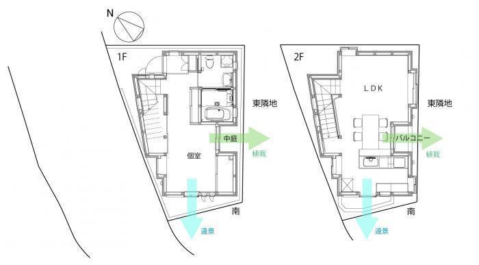 緑と住む家・平面図